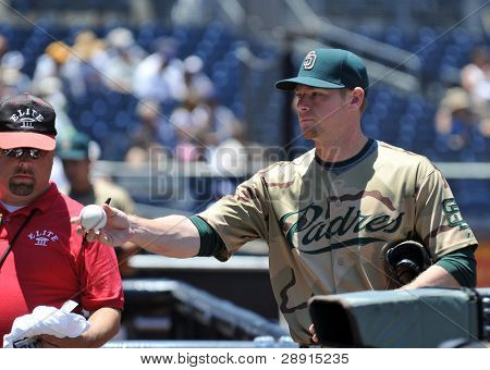 San Diego Padre Chase Headley signs autographs - third baseman. Image taken on June 22, 2008 at Petco Park.