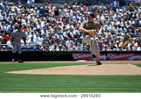 June 22nd, 2008 -  San Diego Padres pitcher Randy Wolf during a game versus the Detroit Tigers at Petco Park.