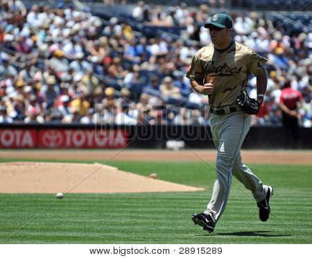 San Diego Padres outfielder Scott Hairston during a game versus the Detroit Tigers at Petco Park on June 22nd, 2008.