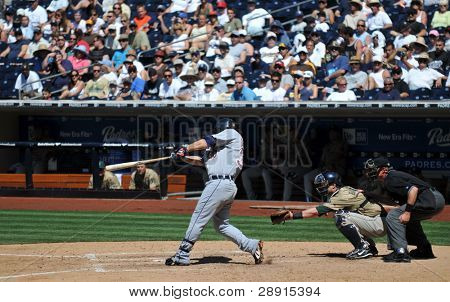 June 22nd, 2008 - Detroit Tigers Magglio Ordonez slugs a home run  during a game versus the San Diego Padres. Michael Barrett catching.