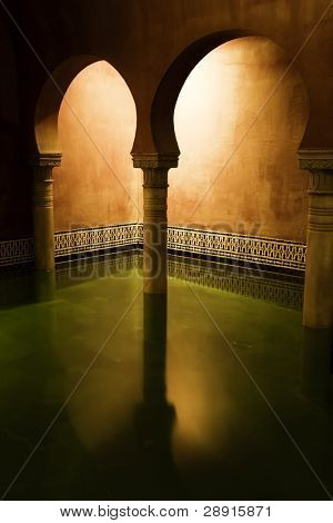 Arab spa detail with long exposed water.