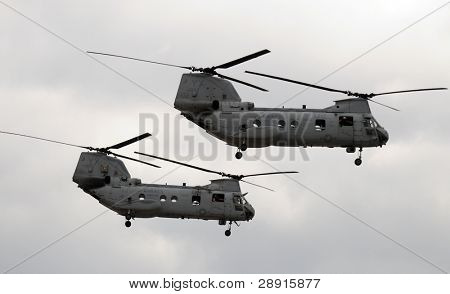 SAN DIEGO, CA - OCTOBER 4, 2008:  MiraMar NAS AirShow. Closeup of two U.S. Marine Corps CH-46 Sea Knight transport helicopters.