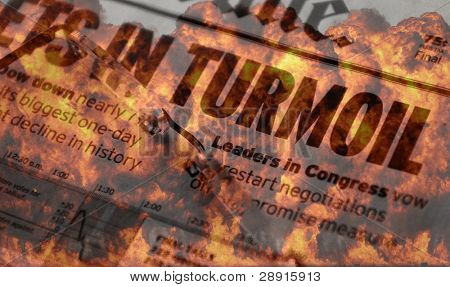 Turmoil and Meltdown on Wall Street - concept image with flames and headlines of turmoil in the stock market.