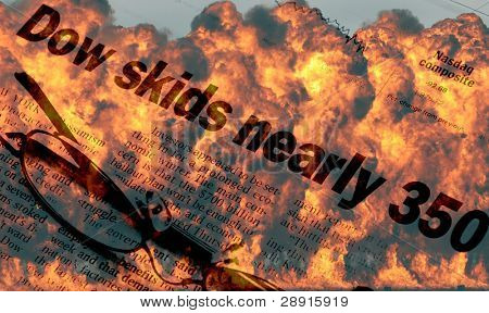 Stock Market Meltdown - concept image with huge fireball in background with newspaper headlines of 'Dow skids nearly 350'