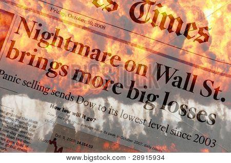 Nightmare on Wall Street Panikverkäufen im Herbst 2008. zusammengesetztes Bild mit Explosion und fla