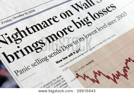 Nightmare on Wall Street - financial market concept image with newspaper headlines.