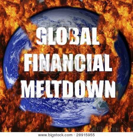 Global Financial Meltdown - planet earth in background engulfed in flames