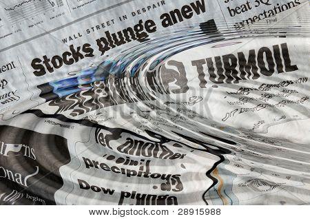Stock Market Ripples - headlines of turmoil and panic in October of 2008