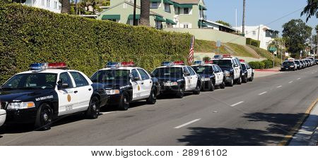 SAN DIEGO, CA - OCTOBER 29, 2008:   Police car-lined street as officers attend the funeral for Federico Borjas.
