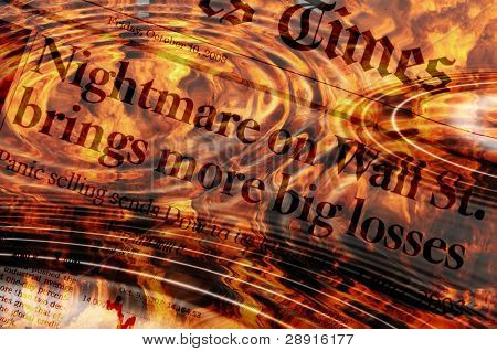Nightmare on wall street - newspaper headlines with flames and concentric rings