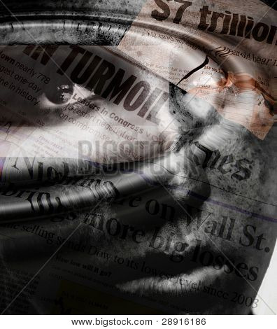 Turmoil and panic on Wall Street - dark composited image with anxious face in background with stock market newspaper headlines.