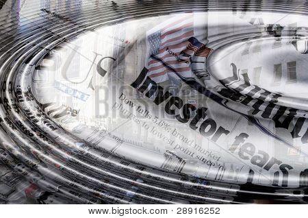 Abstracción de Wall Street - agua ripples aventando hacia fuera encima de titulares de prensa sobre el miedo de los inversores y