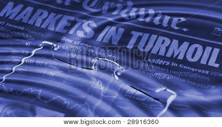 Newspaper headlines - markets in turmoil. Blue hues with water ripples in a stock market abstraction.