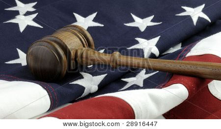 Judges wooden gavel and flag