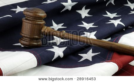 American Justice - wooden gavel and flag