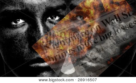 Stock Market Concept image, faces behind newspaper headlines with 'nightmare on wall street.