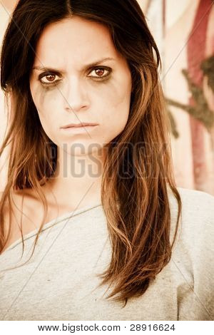 Angry woman portrait after crying.