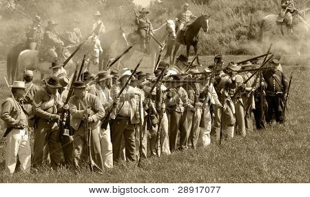 VISTA, CA - MAR 7: Confederate soldiers during a Civil War reenactment on March 7, 2009 in Vista, California. The yearly reenactment honors the Americans who died during the Civil War.
