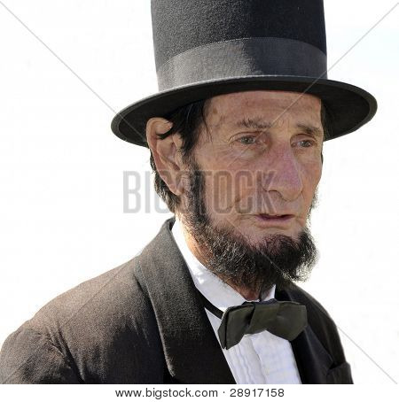 VISTA, CA - MAR 7: An Abraham Lincoln look-alike during a Civil War reenactment on March 7, 2009 in Vista, California. The yearly reenactment honors the Americans who died during the Civil War.