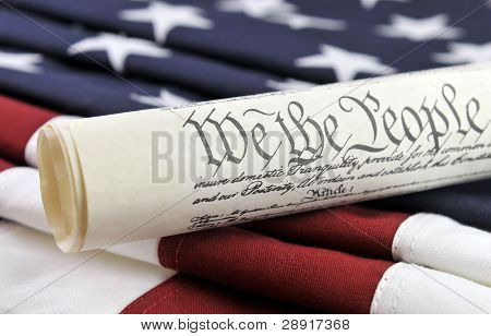 US Constitution - backgound of American flag