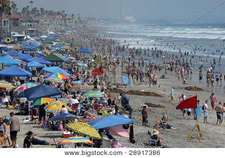 OCEANSIDE, CA - JULY 25: The beach is loaded with people as a heat wave goes  on July 25, 2009 in Oceanside, California, USA.