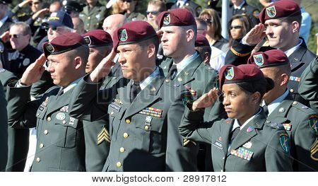 LA JOLLA, CA - OCTOBER 16: Members of the United States Army salute during a ceremony honoring fallen soldier and police officer Federico Borjas on October 16th, 2009 in La Jolla, California.