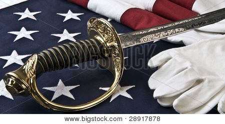US Marine Corps symbols - flag, saber, and white gloves