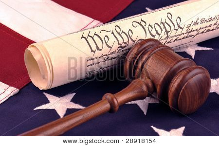 We The People - American flag and US Constitution - symbols of democracy and freedom