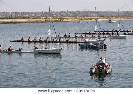 SAN DIEGO, CALIFORNIA - MARCH 27: Boats at the starting line at the 37th Annual San Diego Crew Classic Rowing Regatta at Mission Bay on March 27, 2010 in San Diego, California.