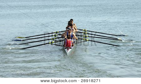 SAN DIEGO, CALIFORNIA - MARCH 27: Crew members race at the 37th Annual San Diego Crew Classic Rowing Regatta at Mission Bay on March 27, 010 in San Diego, California.