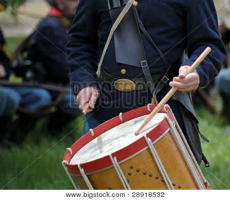 VISTA, CALIFORNIA - APRIL 17: American Civil War (1861-1865) is reenacted by a drummer on April 17, 2010 in Vista, California.