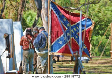 HUNTINGTON BEACH, CA - SEP 04: Confederate flag flies at an encampment honoring the 1861-1865 American Civil War reenactment at Central Park on September 4, 2010 in Huntington Beach, CA.