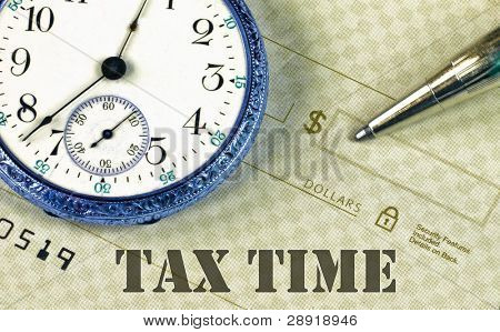 Time And Money with caption 'Tax Time'