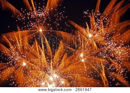 Gold Fireworks Explode