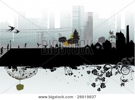 city, people, buildings and nature element