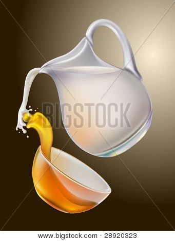 Milk and honey are mixed in splashing