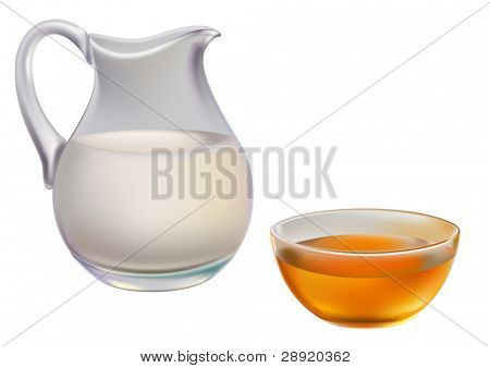Milk in jug and honey in cup