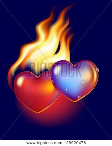 Ice heart melt in fire of hot red heart