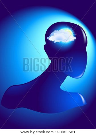 Cloudy doubts inside of human head