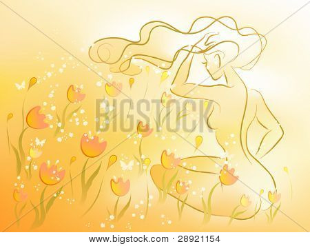Beautiful woman sitting with summer flowers