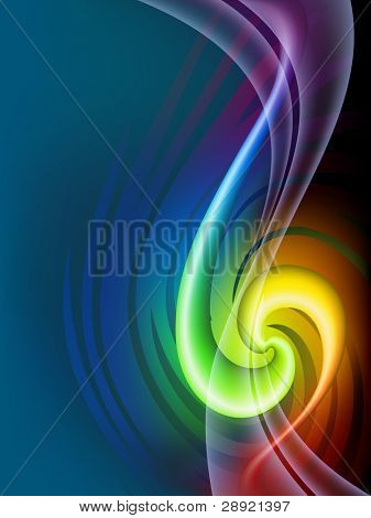 Abstract spiral rainbow line