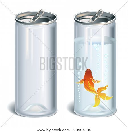 Transparent plastic bottles empty and with water and gold fish