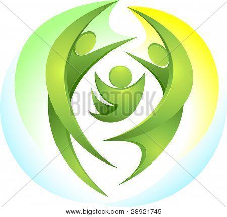 Eco-icon with happy green family