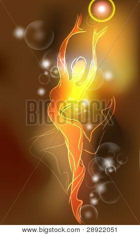 Neon ballerina in sketch style