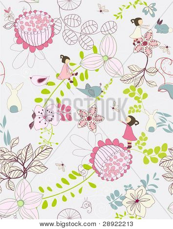 seamless whimsical floral background