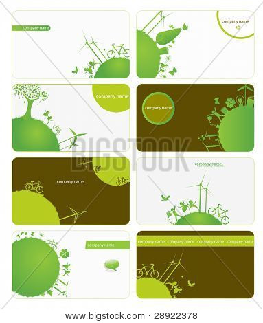 set of business cards on green planet earth theme