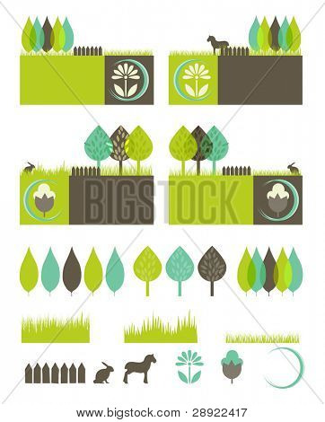 green, eco, nature environmental banners with isolated elements to compose your own design