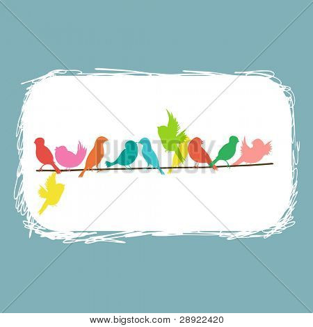 colorful birds on a line on white abstract background