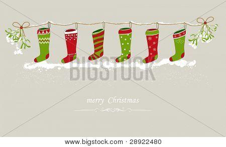 圣诞袜节日线上挂着 库存矢量图和库存照片 | bigstock
