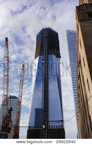 MANHATTAN, NY - OCT 18: The Freedom Tower rises to over 1000 feet (enroute to 1776 feet when complete) 10 years after the 9-11-2001 terrorism attacks on October 18, 2011 in Manhattan, NY.